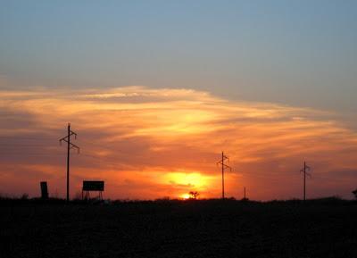 sunset over harvested cornfield