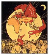 La sombra del eclipse refeljada en un cartel de la Revolución