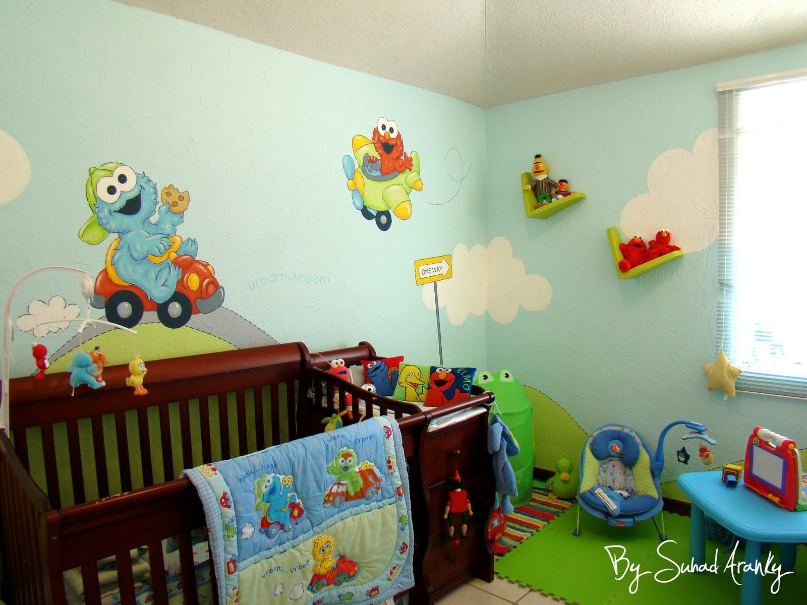Murales en dormitorios cuarto ni o plaza sesamo for Como decorar un mural