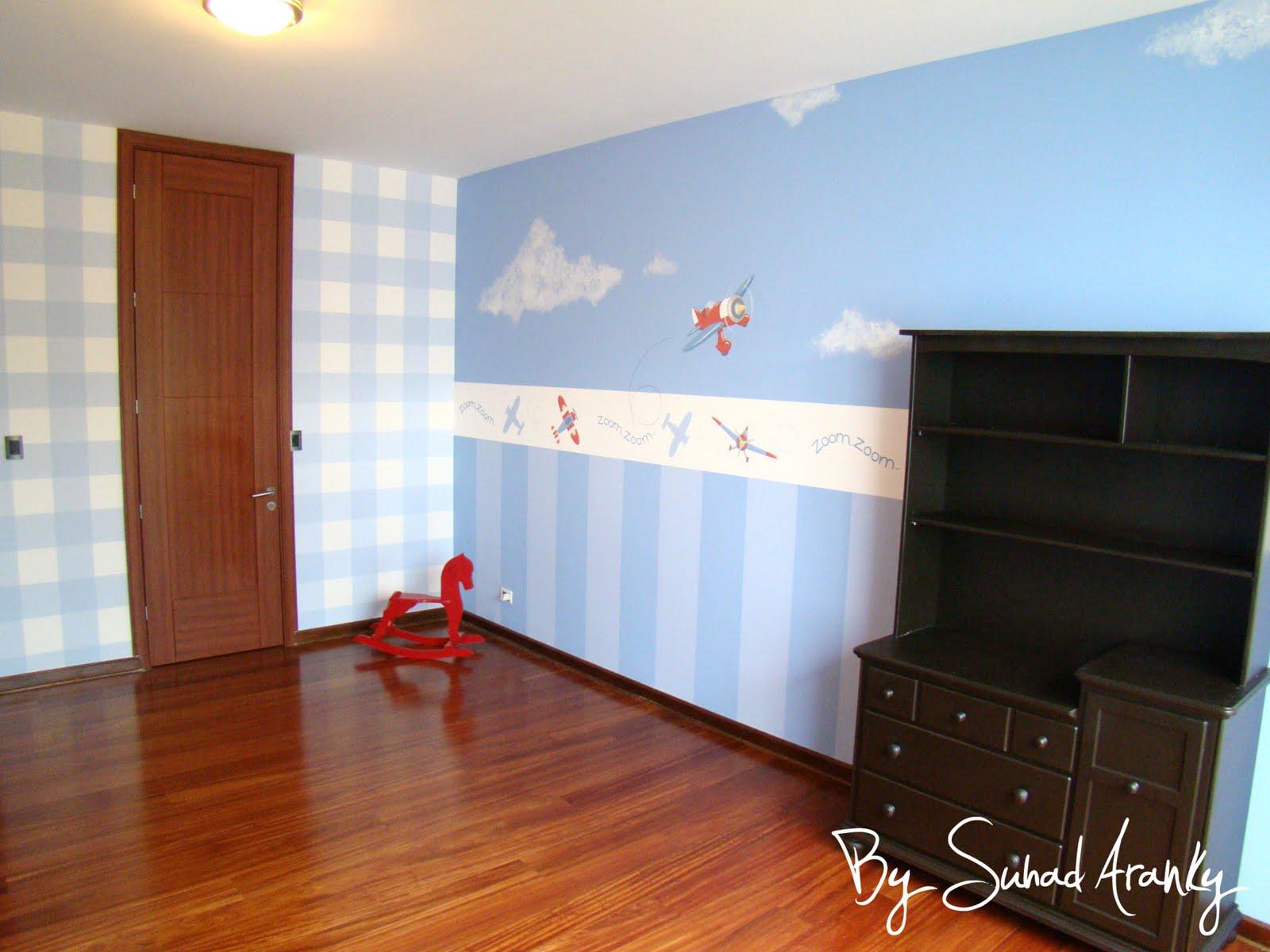 Murales en dormitorios cuarto beb aviones - Murales para habitacion ...