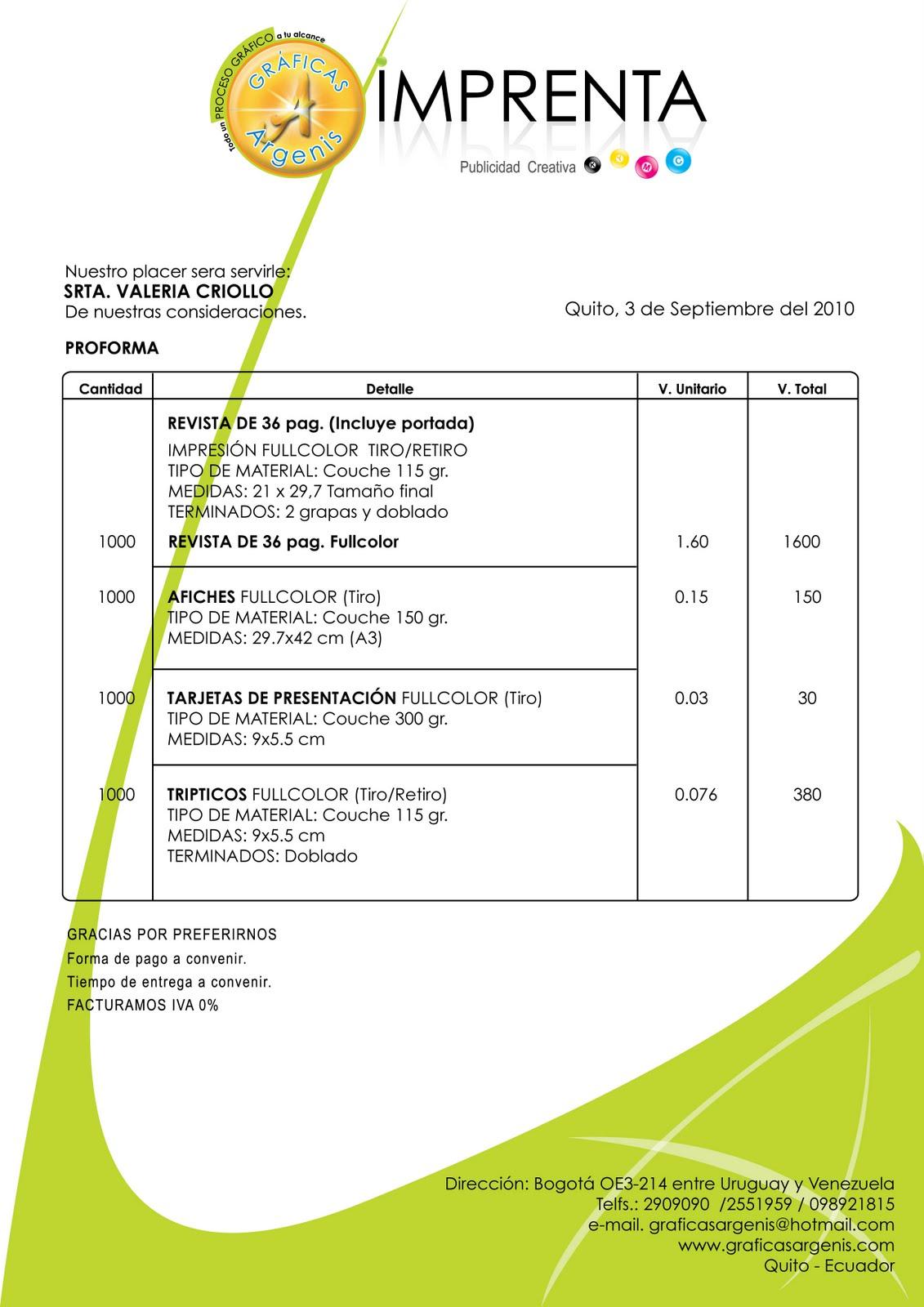 graficas y audio septiembre 2010 cotizacion imprenta proforma