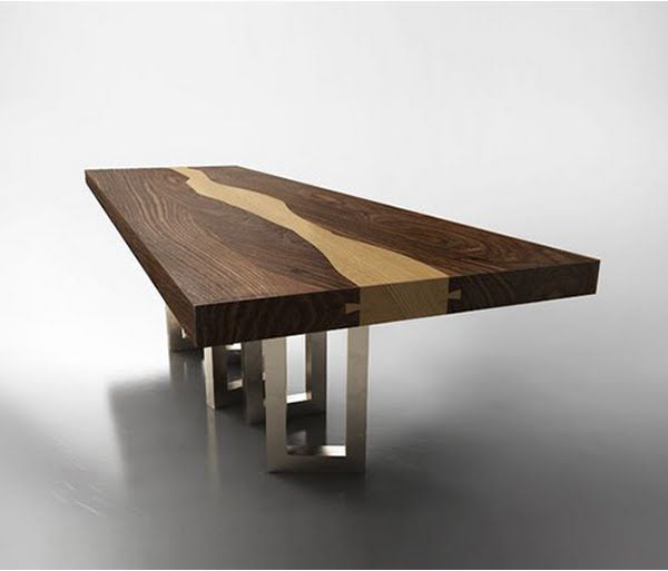 Walnut wood table by il pezzo mancante luxury wood table for Furniture table design examples