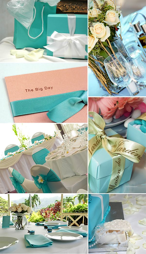 The color aqua is perfect for a beach theme wedding