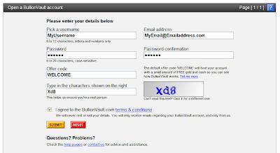 BullionVault Registration