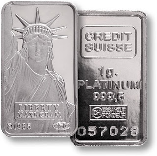 2009 Copyright Northwest Territorial Mint - Credit Suisse 5 Gram Platinum Bar