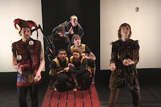 Christopher Patrick Mullen as Bear, the traveling entertainer, Erin Brueggemann as Crispin, and the rest of the cast of CRISPIN: THE CROSS OF LEAD