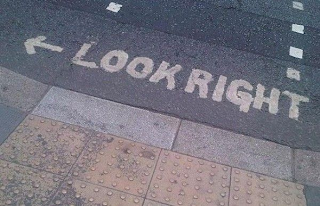 look right with arrow towards left