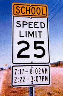 School Speed Limit Between Precise Times