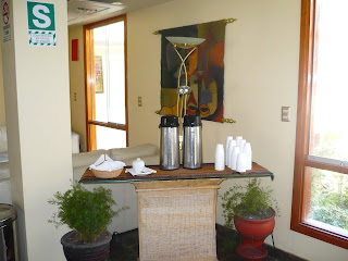 Coca tea flasks in hotel lobby