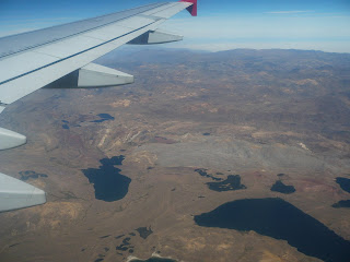 Lakes amidst mountains from the air