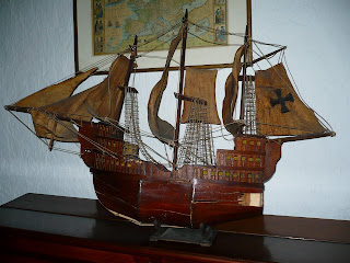 Hotel San Agustin Colonial, Lima, wooden ship in lobby
