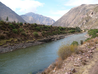 Vilcanota River with mountains from Andean Explorer