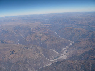 Cusco-Lima aerial view over Andes
