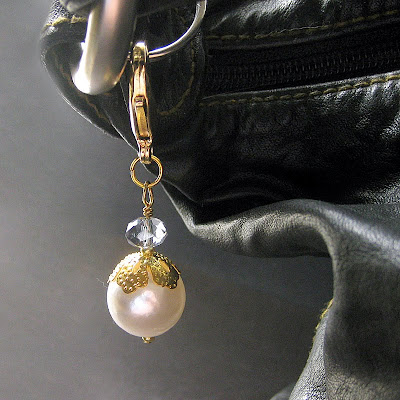 Clarity Blue - Glass Crystal and Pearl Purse Charm