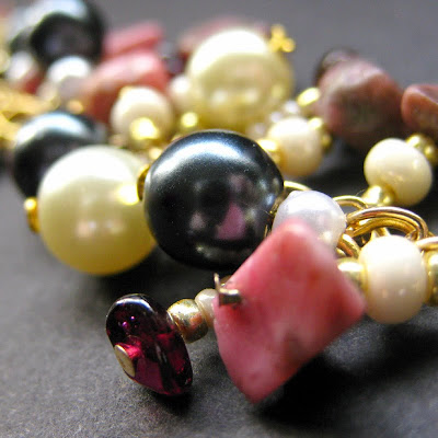 Rhodonite, Garnet and Pearl Charm Bracelet - Metamorphose