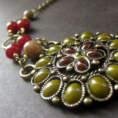 The Pocahontas Flower Choker with Unakite Gemstones