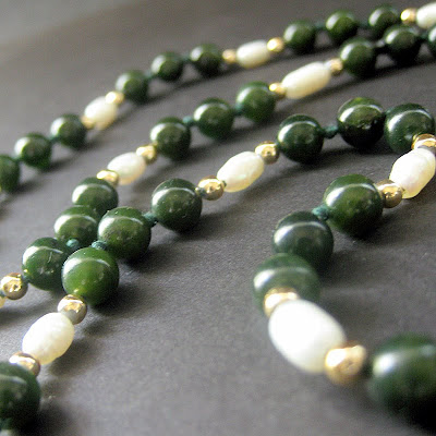 Knotted Pearl and Jade Necklace