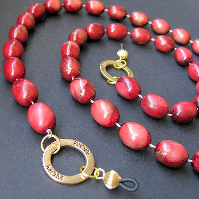 Brick Red Eyeglass Chain made from Upcycled Vintage Necklace