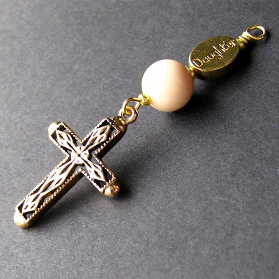 Christian Daughter Charm with Gold Filigree Cross
