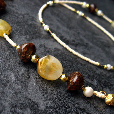 Earthen Brown Beaded Eyeglasses Chain
