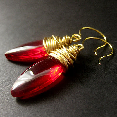 Elliptical Red Earrings Wire Wrapped inGold