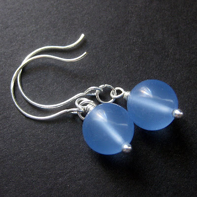 Gemstone Earrings in Blue Chalcedony and Silver
