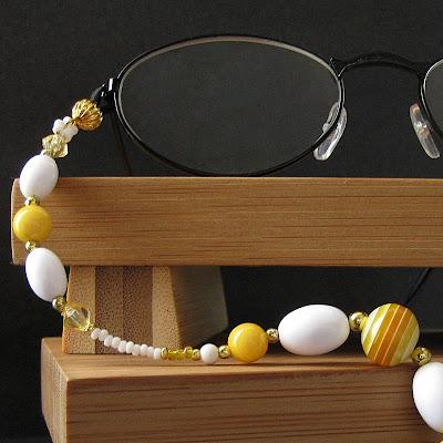 Yellow and White Beaded Eyeglass Chain