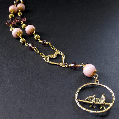 Pink and Plum Lovebirds Necklace in Gold