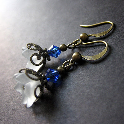 Iridescent Flower Earrings in White, Blue and Bronze