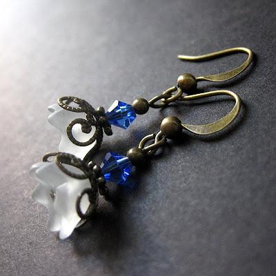 Iridescent Flower Earrings in White, Blue and Bronze