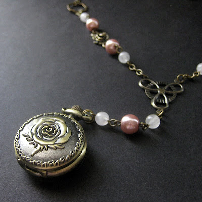 Pink Pearl Necklace with Romantic Rose Pocket Watch