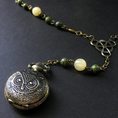 Lace Agate and Honey Jade Owl Pocket Watch Necklace