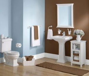 Blue and brown bathroom decor interior design for house for Blue and brown bathroom designs