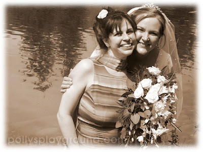 bride and sister in sepia