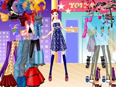 Vestir y peinar a la muchacha para ir de compras