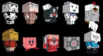 Muñecos con cubos de papel