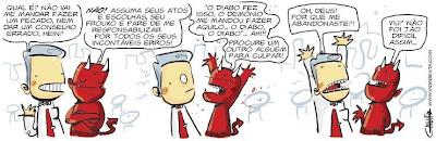 Portal Expressão Jovem: Charges Gospel, Humor Cristão, Não culpe o diabo, Tirinha