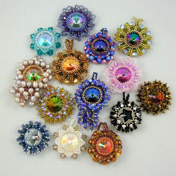 Cathy s beadwork rivoli pendants