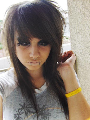 emo girl hairstyle. girl with emo hairstyle very cool with a beautiful face with the right