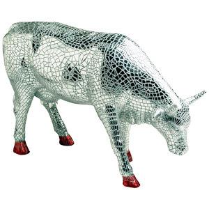 vache argentée déco
