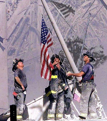 Raising of the US flag at Ground Zero
