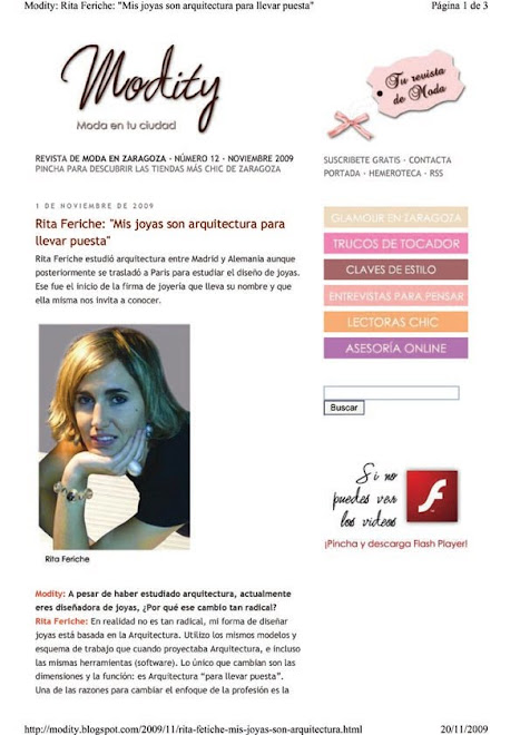"Reportaje de RITA FERICHE en ""Modity"""