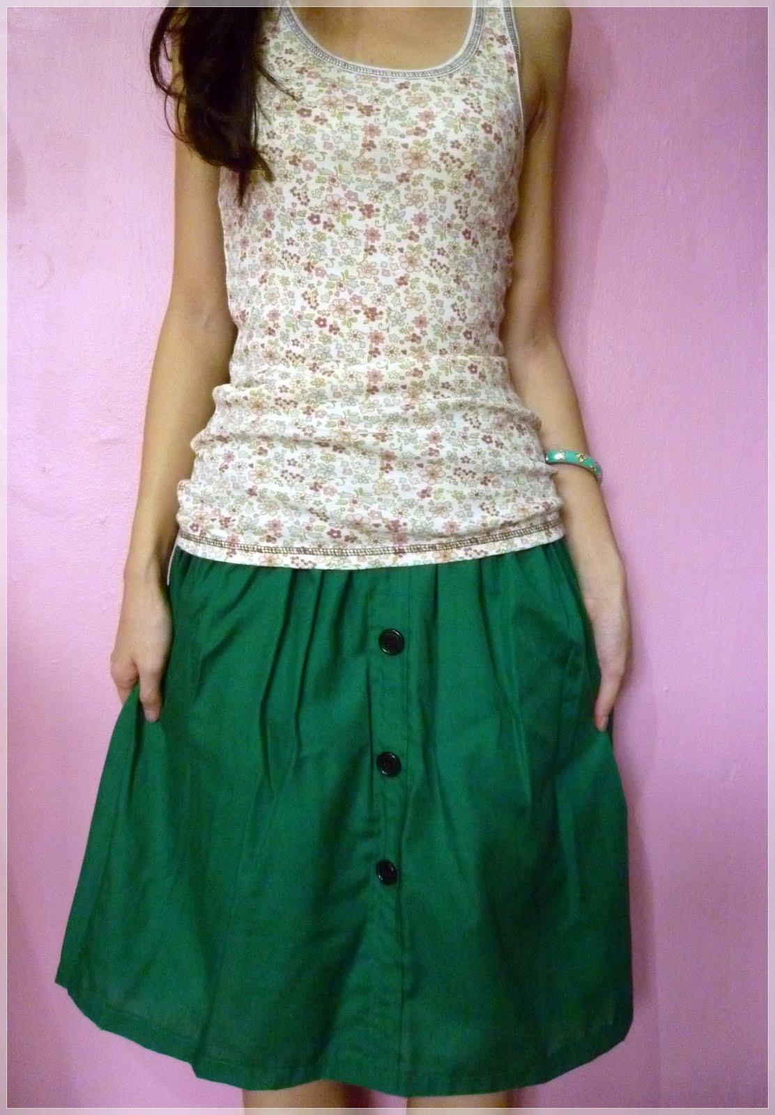 oh armoire casual green knee length skirt t823