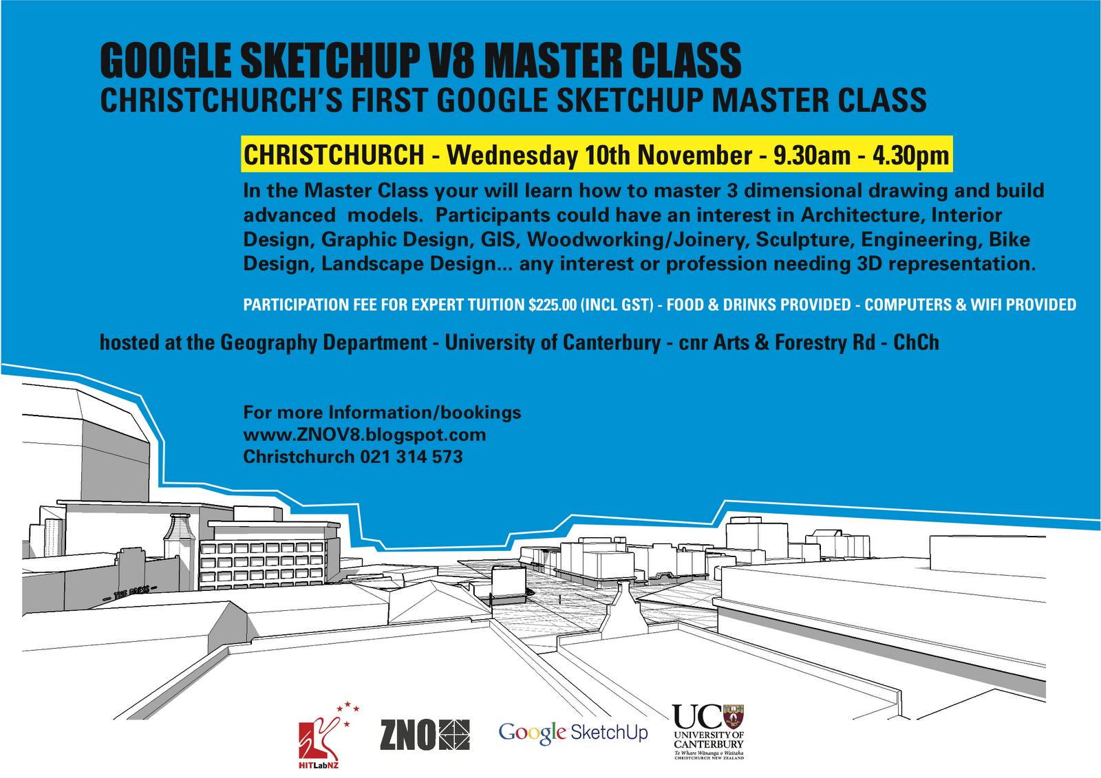 Zno google sketchup v8 workshops for Landscape design courses christchurch nz