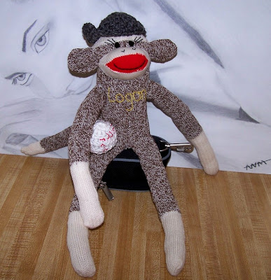 sock monkey baseball player