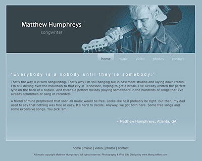 Web Site for Matthew Humphreys, Atlanta Songwriter