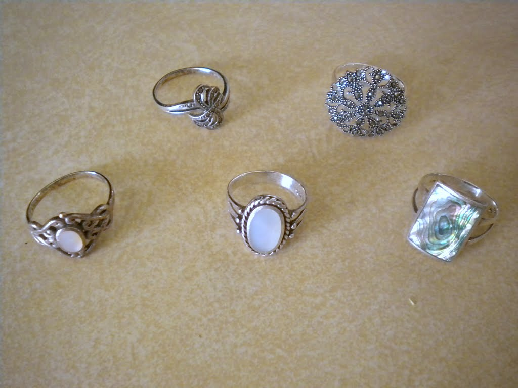 Clockwise From Top Left: 1) Small Marcasite Ring  Kohl's 2) Large Disc  Marcasite Ring  Kohl's 3) Multicolored Rectangle Motherofpearl Ring   Kohl's 4)