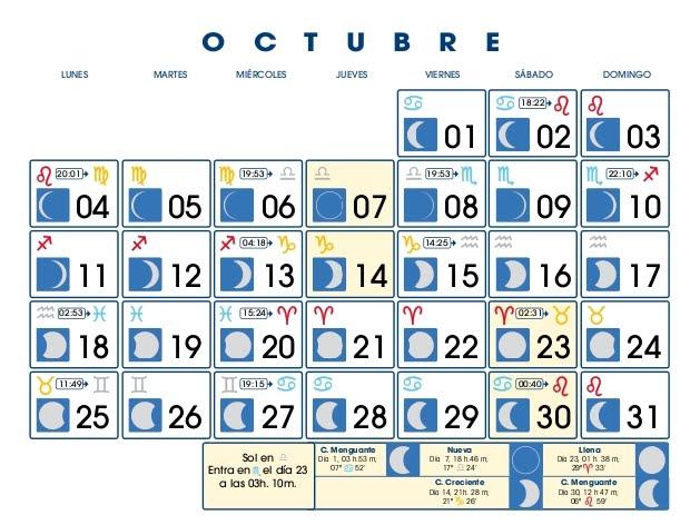 Centro astrologico venezolano calendario lunar octubre for Calendario lunar de octubre 2016