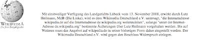 Screenshot della pagina di www.wikipedia.de sottoposta a seuqestro in seguito alla denuncia del deputato de Die Linke Lutz Heilmann