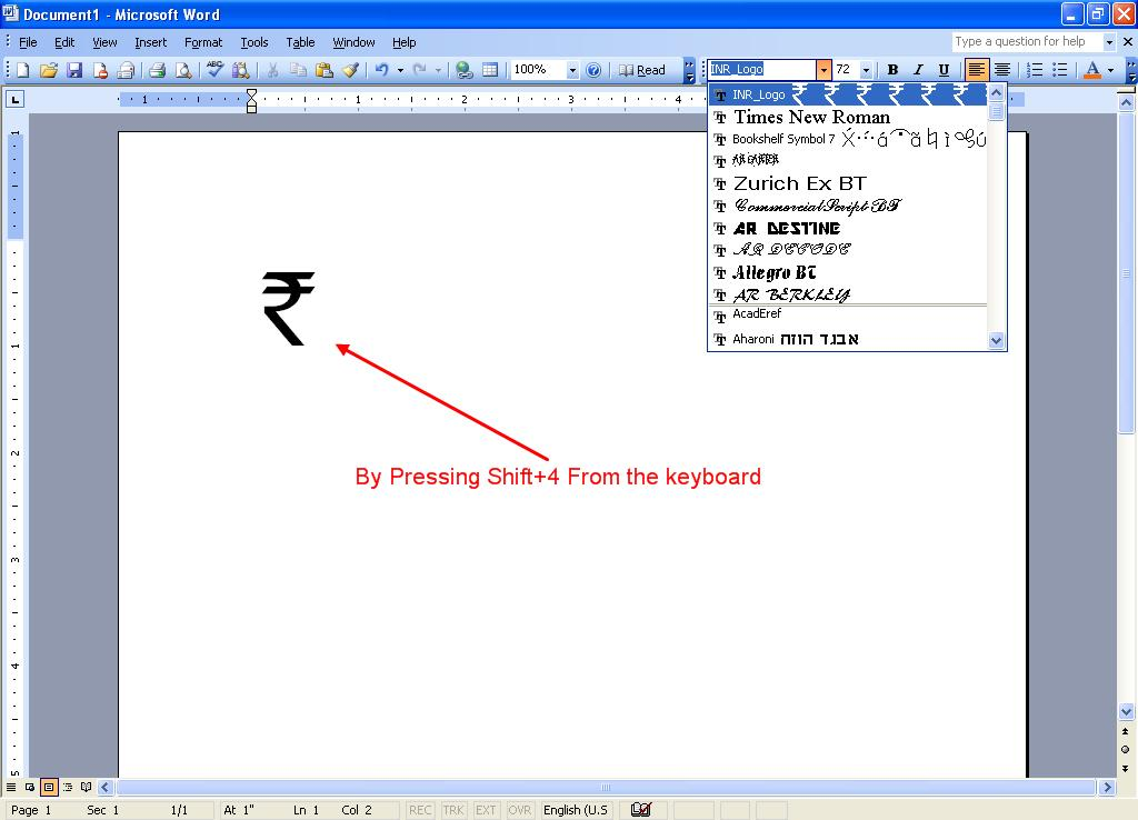 Rupee Symbol In Our Computer My Life My Rules